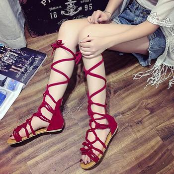 Модерни дамски сандали с връзки в черен, червен и кафяв цвят