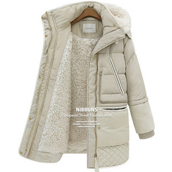 Дамско топло яке за зимата в бял и черен цвят