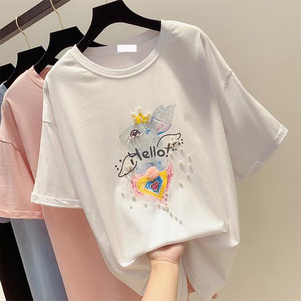 9aa2edf6dc1 Модерна дамска тениска с декорация перли - Badu.bg - Светът в ръцете ти