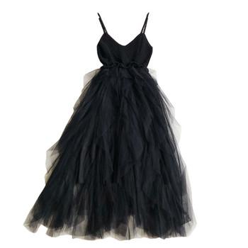 Стилна дамска рокля с тюл в розов и черен цвят