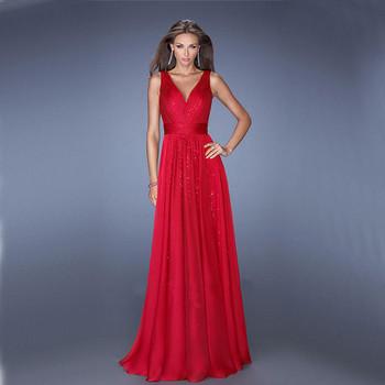 Νέο μοντέλο γυναικείο φόρεμα με ντεκολτέ σε σχήμα V σε τρία χρώματα