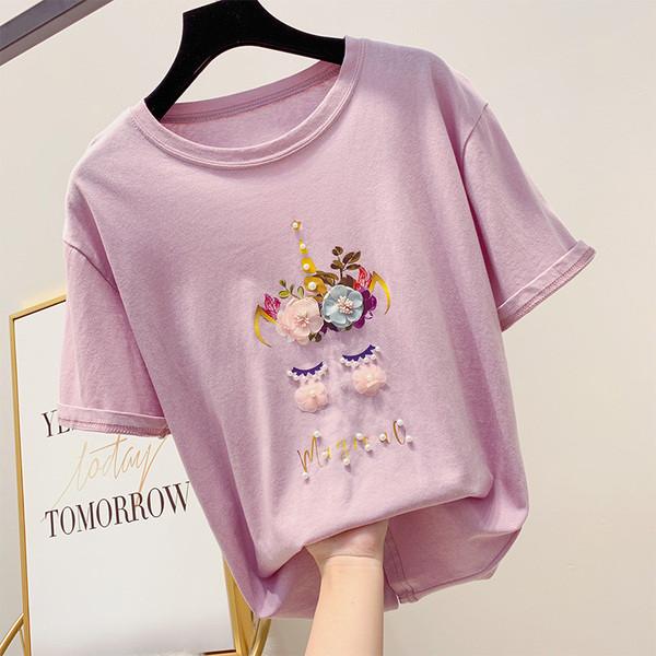 13e94ff8afb Дамска тениска с декорация цветя и перли - Badu.bg - Светът в ръцете ти