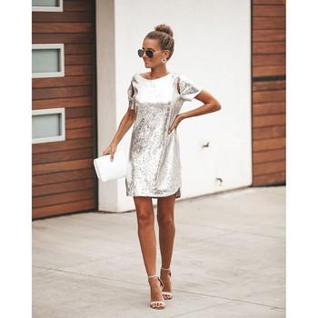 HIT Μοντέρνο  γυναικείο φόρεμα με πούλιες σε ασημί χρώμα