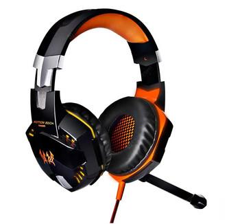 Геймърски слушалки Kotion Each G2000 - с микрофон и LED светлини - оранжеви