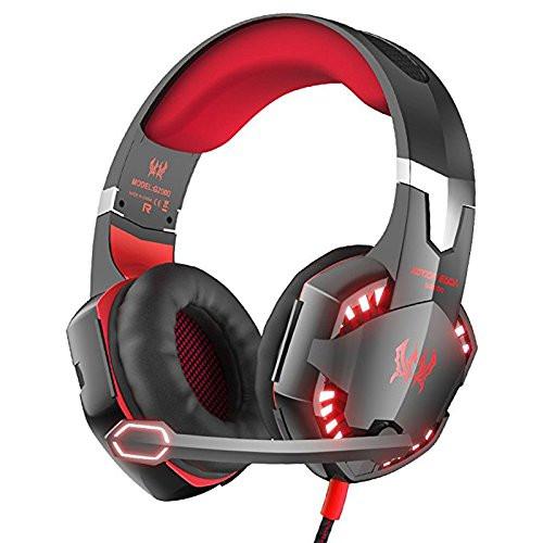 Геймърски слушалки Kotion Each G2000 - с микрофон и LED светлини - черни с червено