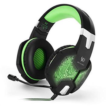 Геймърски слушалки Kotion Each G1000 - с микрофон и LED светлини  - черни със зелено