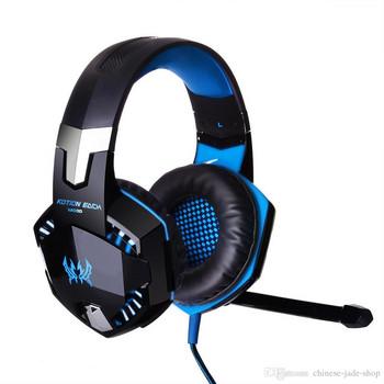 Геймърски слушалки Kotion Each G2000 - с микрофон и LED светлини - черни със синьо
