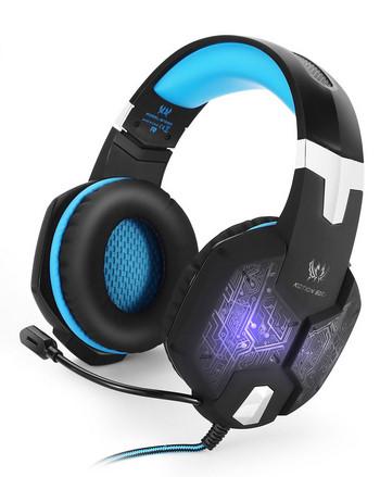 Геймърски слушалки Kotion Each G1000 - с микрофон и LED светлини  в син цвят