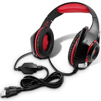 Геймърски слушалки Beexcellent GM-1 - шумоизолиращи, с микрофон и LED светлини - черни с червено