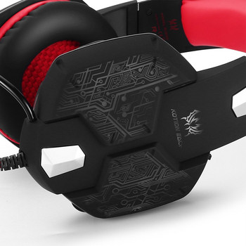 Геймърски слушалки Kotion Each G1000 - с микрофон и LED светлини  в червен цвят