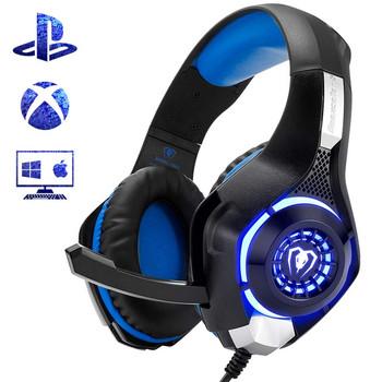 Геймърски слушалки Beexcellent GM-1 - шумоизолиращи, с микрофон и LED светлини - сини