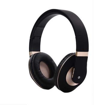 Стерео bluetooth слушалки модел SY-BT1609 сгъваеми с опция за AUX режим - черни със златисто
