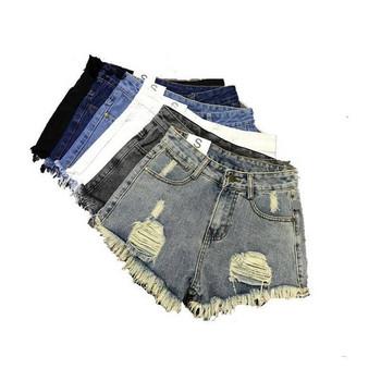 Модерни дамски къси панталони с разкъсани мотиви в няколко цвята