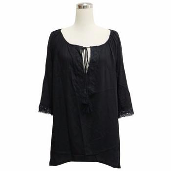 Дамско парео тип-риза в черен и бял цвят