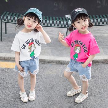 Детска тениска за момичета в бял и розов цвят с апликация