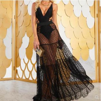 Нов модел дамска пола дълъг модел от тюл в черен и бял  цвят