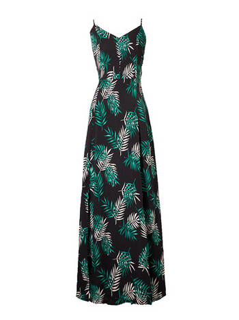 Плажна дълга дамска рокля с гол гръб и връзки в черен цвят с принт