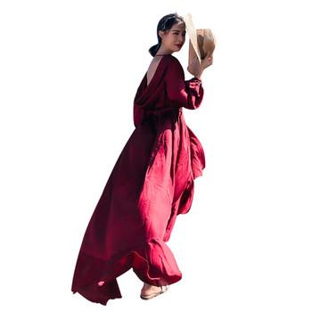 Плажна рокля с прехвърляне и връзки на талията в цвят бордо