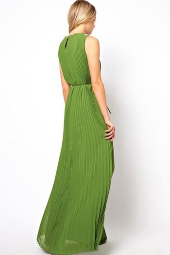 Дамска плисирана рокля дълъг модел в зелен цвят