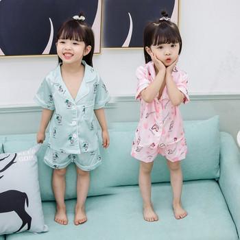 Детска пижама за момичета в три цвята с различни апликации