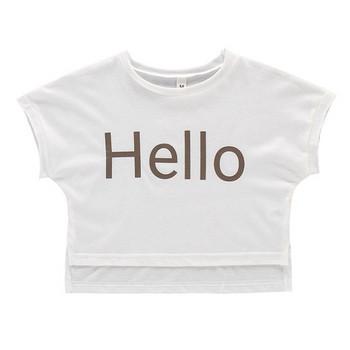 Детска ежедневна тениска за момичета в три цвята с надпис