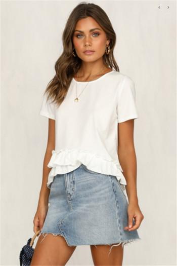 Ежедневна дамска тениска  с О-образно деколте в бял цвят