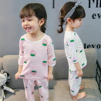 Детска пижама за момичета в бял и розов цвят