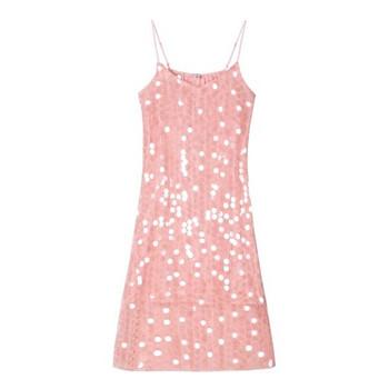 Модерна и стилна дамска рокля с пайети в розов цвят