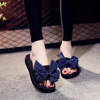 Стилни дамски чехли с панделка в син,черен и червен цвят