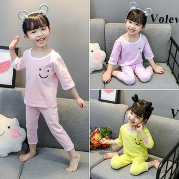 Детска пижама за момичета в три цвята с апликация