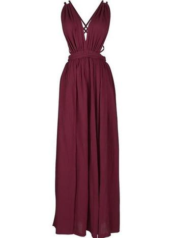Плажна рокля с презрамки и гол гръб в бордо и син цвят