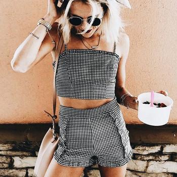 Нов летен дамски комплект от две части -потник и къси панталони