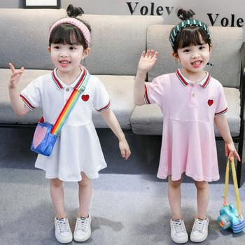 Детска ежедневна рокля в розов и бял цвят с бродерия