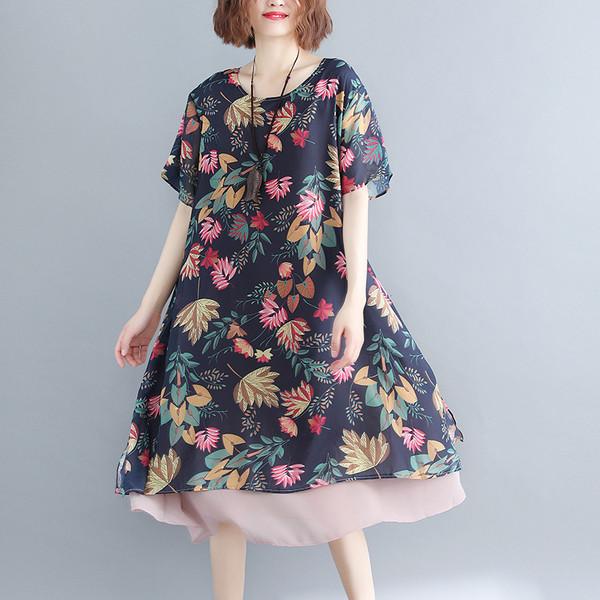 17c43ba5258 Модерна дамска рокля с флорален мотив и къс ръкав - Badu.bg - Светът в ръцете  ти