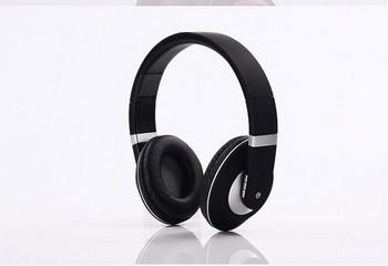 Стерео bluetooth слушалки модел SY-BT1609 сгъваеми с опция за AUX режим - черни със сребристо