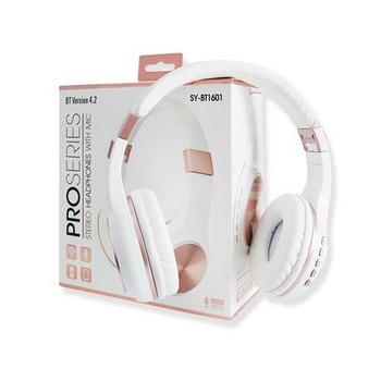 Bluetooth слушалки модел SY-BT1601 сгъваеми със слот за  TF/SD карта в бял цвят с розово