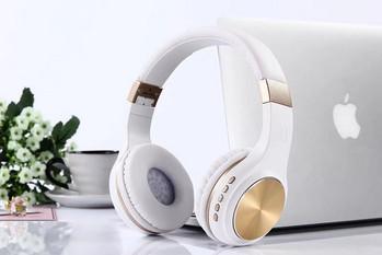 Bluetooth слушалки модел SY-BT1601 сгъваеми със слот за  TF/SD карта в бял цвят със златисто