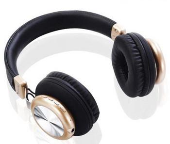 Bluetooth слушалки модел SY-BT1616 със слот за  TF/SD карта в черен със златист цвят