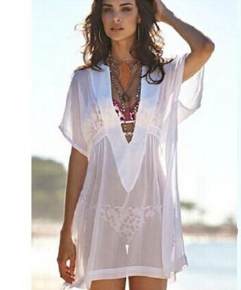 Σύγχρονο γυναικείο παρεό με ντεκολτέ σε σχήμα V σε λευκό χρώμα