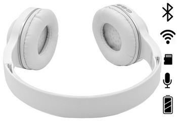 Bluetooth слушалки модел SY-BT1619 със слот за  TF/SD карта в бял цвят