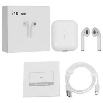 Безжични Bluetooth  слушалки TWS I10  с Powerbank  в бял цвят