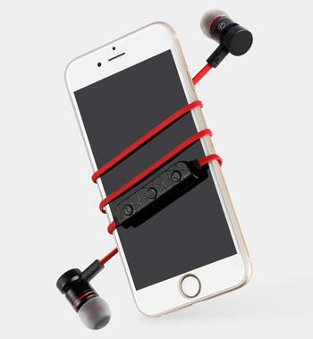 Безжични Bluetooth  слушалки M9 за спорт с микрофон, Bluetooth,магнит в червен цвят