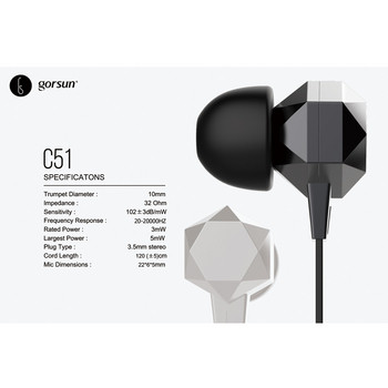Слушалки тапи Gorsun C51 с  микрофон в черен цвят