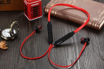 Безжични Bluetooth  слушалки X1 за спорт с микрофон, Bluetooth,магнит в червен цвят