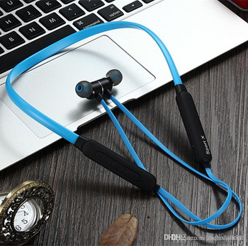 Безжични Bluetooth  слушалки X1 за спорт с микрофон, Bluetooth,магнит в син цвят