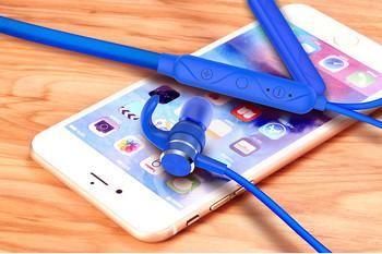 Безжични Bluetooth  слушалки  за спорт с микрофон, Bluetooth,магнит и зареждане с USB кабел в син цвят