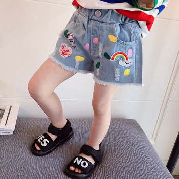 Детски модерни дънки с копче и бродерия за момичета
