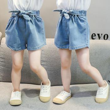 Модерни детски къси дънки в син цвят-за момичета
