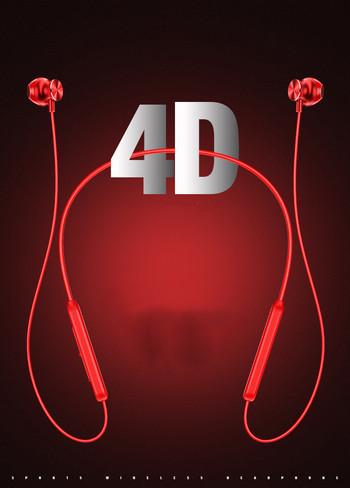 Безжични Bluetooth  слушалки L 8 за спорт с микрофон, Bluetooth,магнит и Micro SD в червен цвят