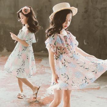 Детска стилна рокля с флорални мотиви-два цвята